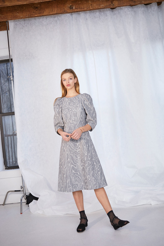 WHIT Pru Dress Glen Check Wood Grey