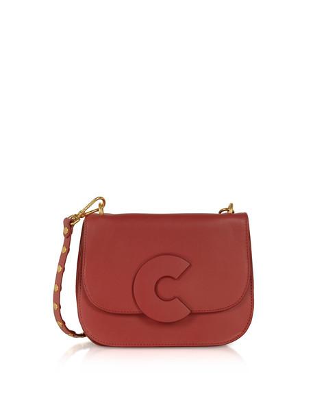 Coccinelle Craquante Rock Medium Shoulder Bag W/studded Shoulder Strap in burgundy