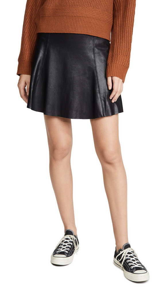 SPANX Faux Leather Skater Skirt in black