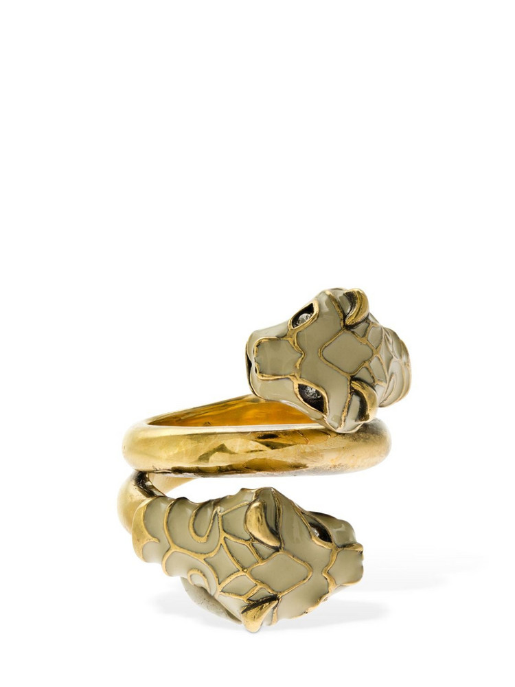 GUCCI Double Feline Head Spoon Ring in gold / ivory