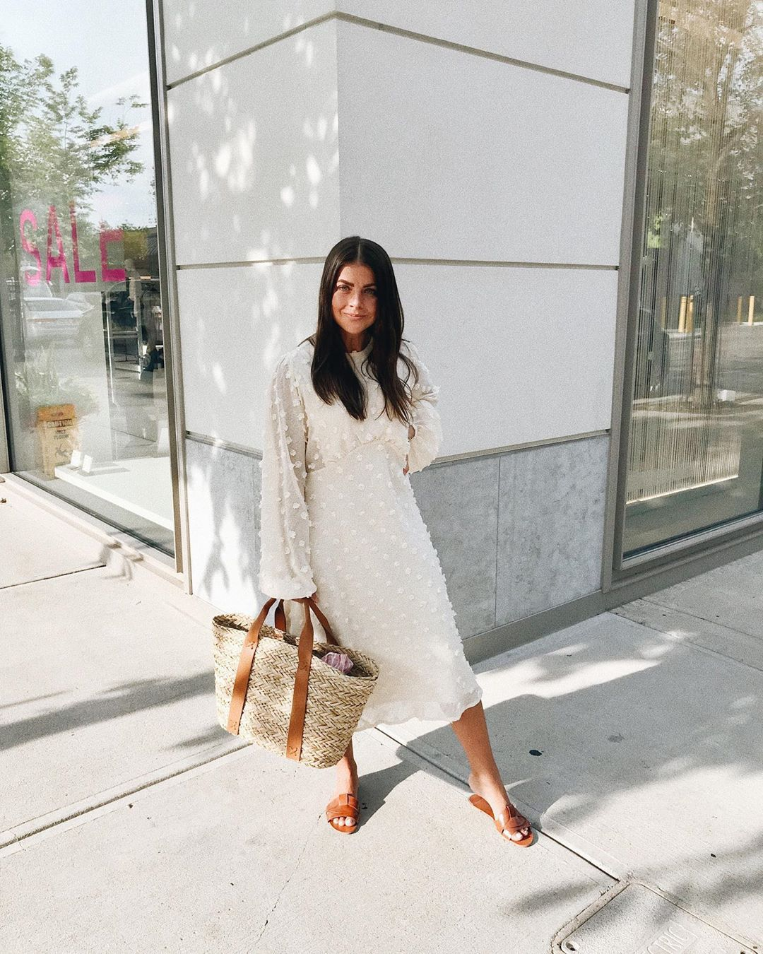 dress white dress long sleeve dress slide shoes woven bag
