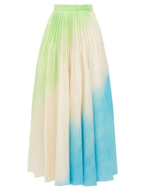 Roksanda - Ambra Hand Sprayed Ripple Textured Skirt - Womens - Green Multi