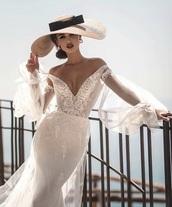 dress,wedding dress,gown,wedding hairstyles,fashion,fashion week,white,lace dress,sheer,off the shoulder,silk,style,lace wedding dress,wedding accessories