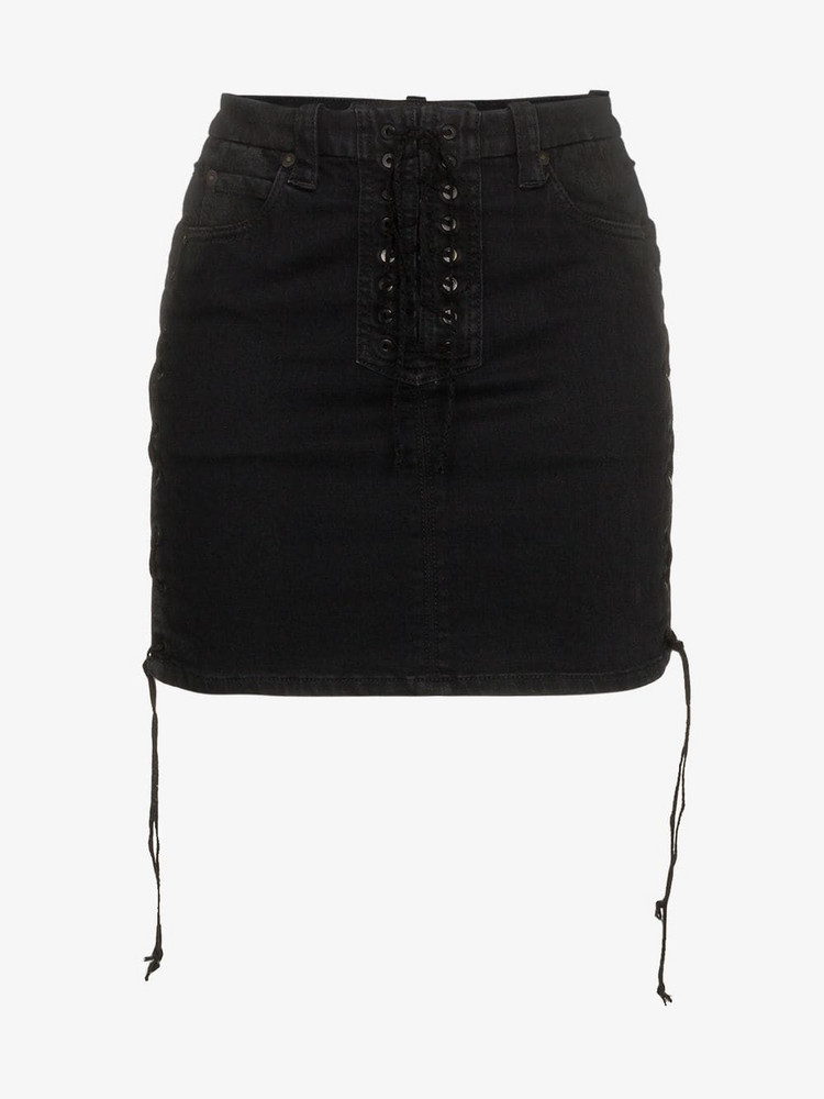 Unravel Project lace-up mini skirt in black