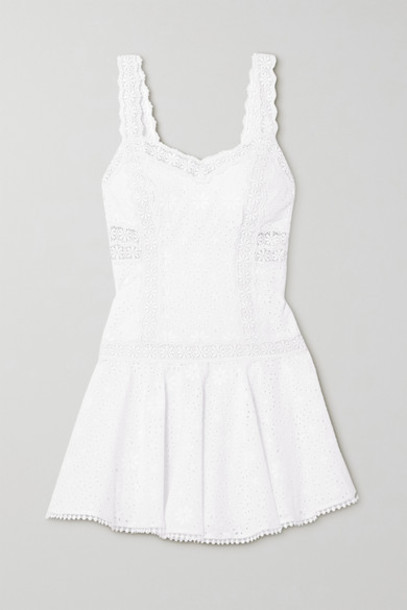 Charo Ruiz - Biba Crocheted Lace-trimmed Broderie Anglaise Cotton-blend Mini Dress - White
