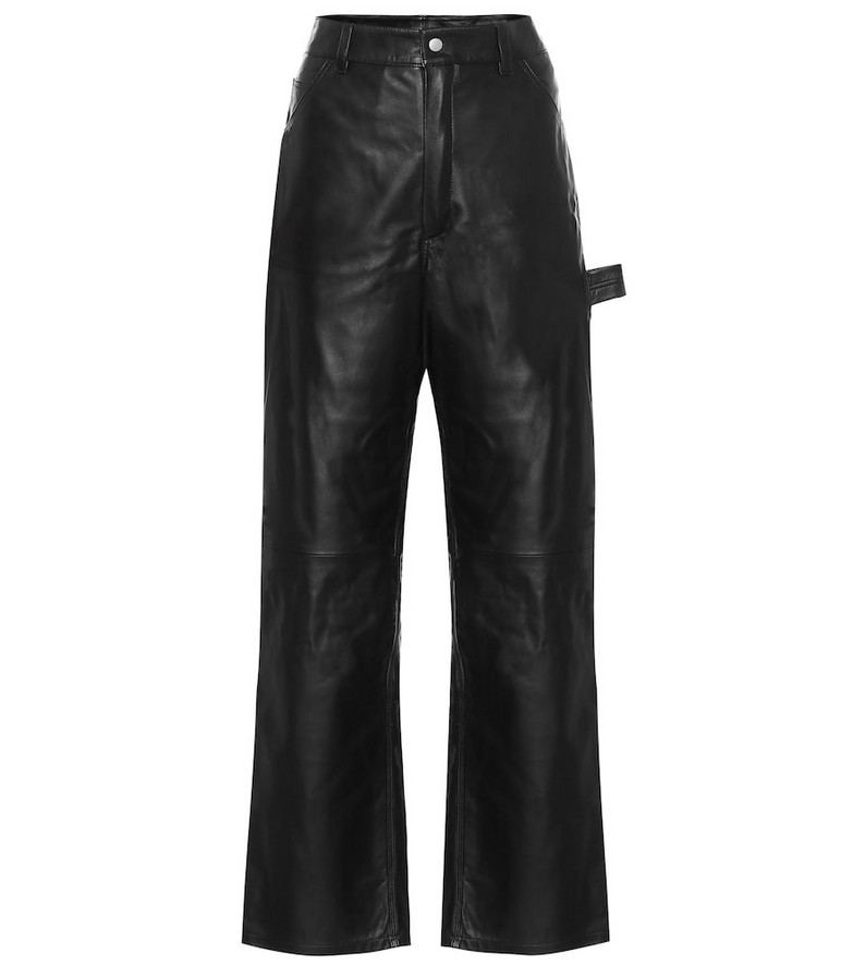 Unravel High-rise wide-leg leather jeans in black