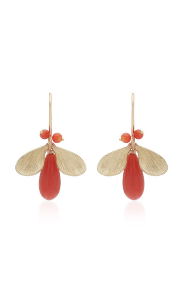 Annette Ferdinandsen Jeweled Bugs 14K Gold And Coral Drop Earrings in pink