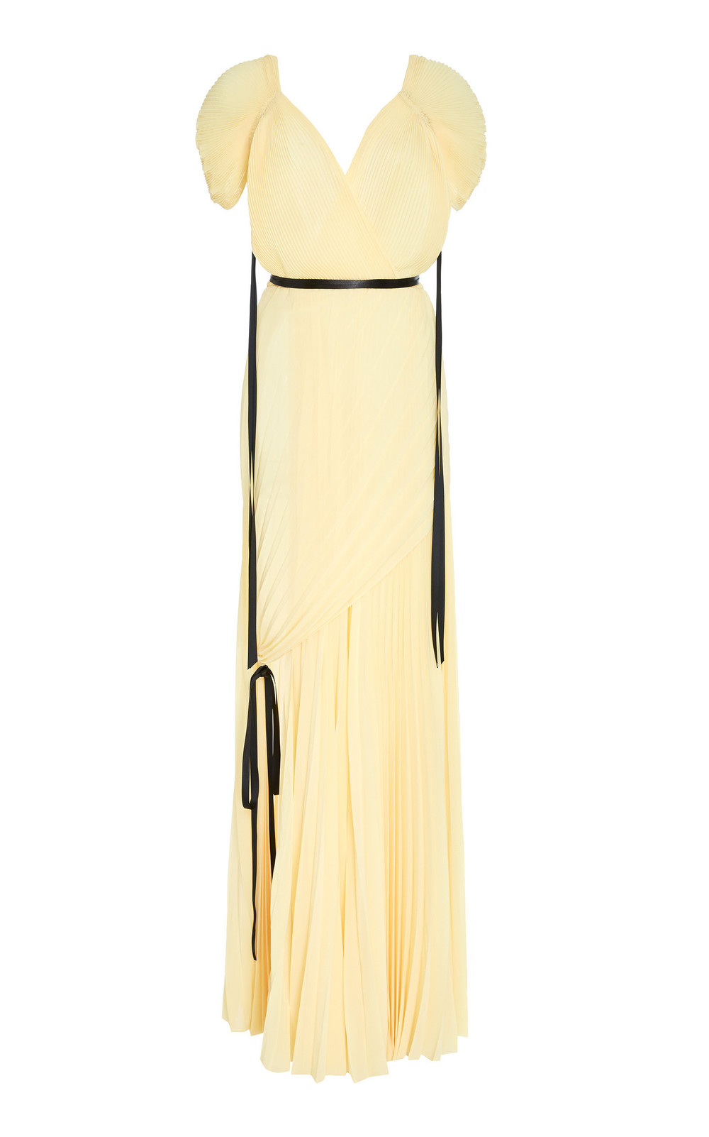 Tre by Natalie Ratabesi The Bovary Front Slit Pleated Chiffon Gown in yellow