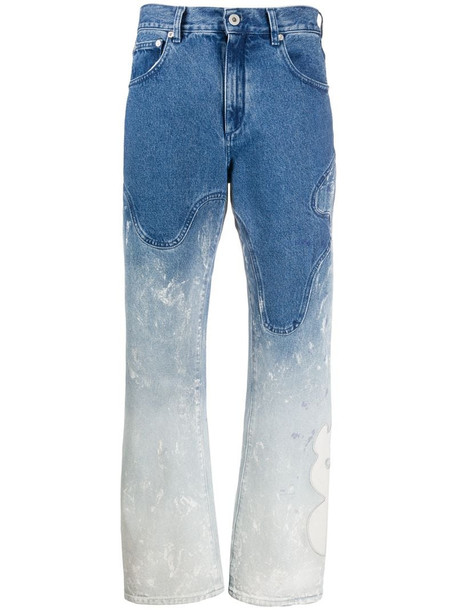 Off-White bleached baggy jeans in blue