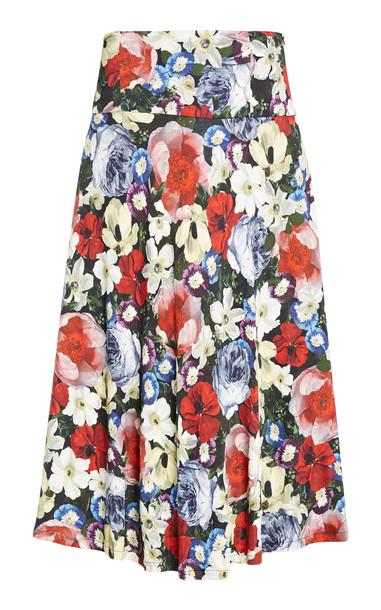 Erdem Elvin Floral Print Jersey Midi Skirt in multi