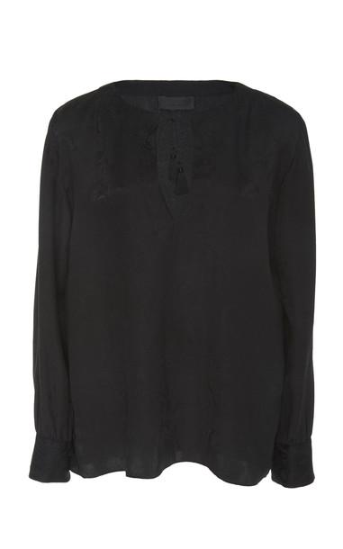 NILI LOTAN Lucena Paisley-Printed Silk Blouse Size: M in black