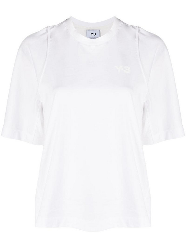 Y-3 raw-cut edge cotton T-shirt in white