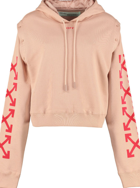 Off-White Cotton Hoodie in pink