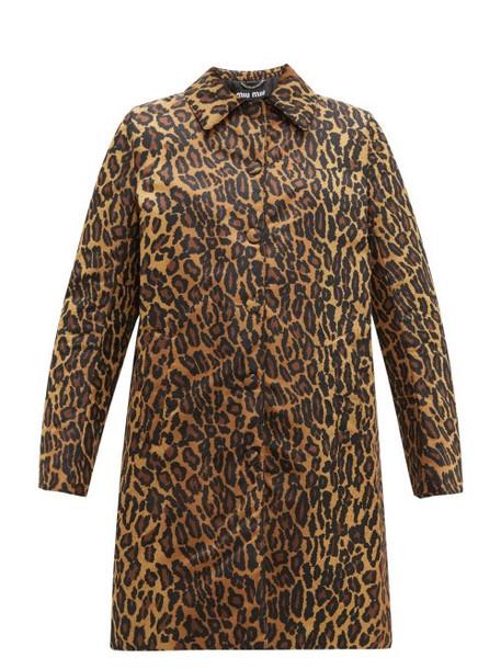Miu Miu - Padded Leopard Print Technical Twill Coat - Womens - Leopard