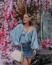 top,blouse,denim skirt,high wasited skirt,cropped,bag