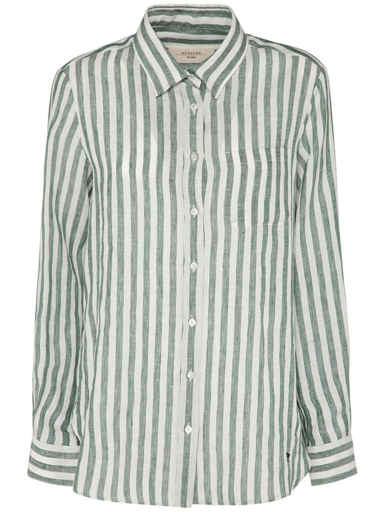 WEEKEND MAX MARA Striped Linen Shirt in green / white