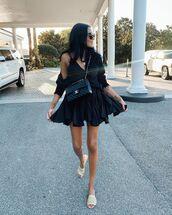 skirt,black skirt,mini skirt,black top,black cardigan,slide shoes,chanel bag
