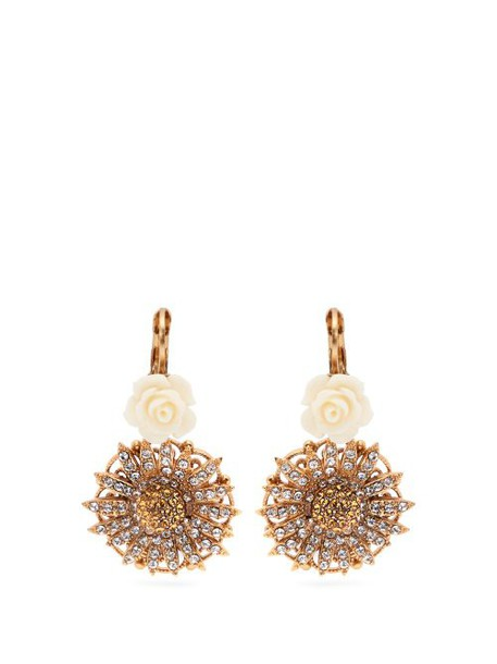 Dolce & Gabbana - Crystal Embellished Rose & Daisy Earrings - Womens - Gold