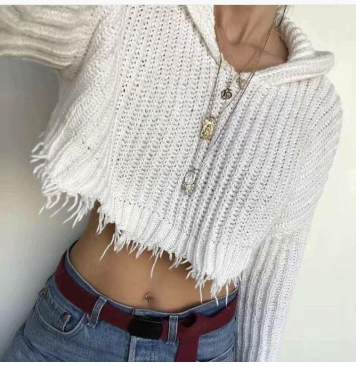 sweater girly girl girly wishlist white crop cropped cropped sweater crop tops cropped hoodie hoodie frayed cute knitwear knit knitted sweater itgirl itgirl shop itgirl clothing itgirlclothing itgirlshop
