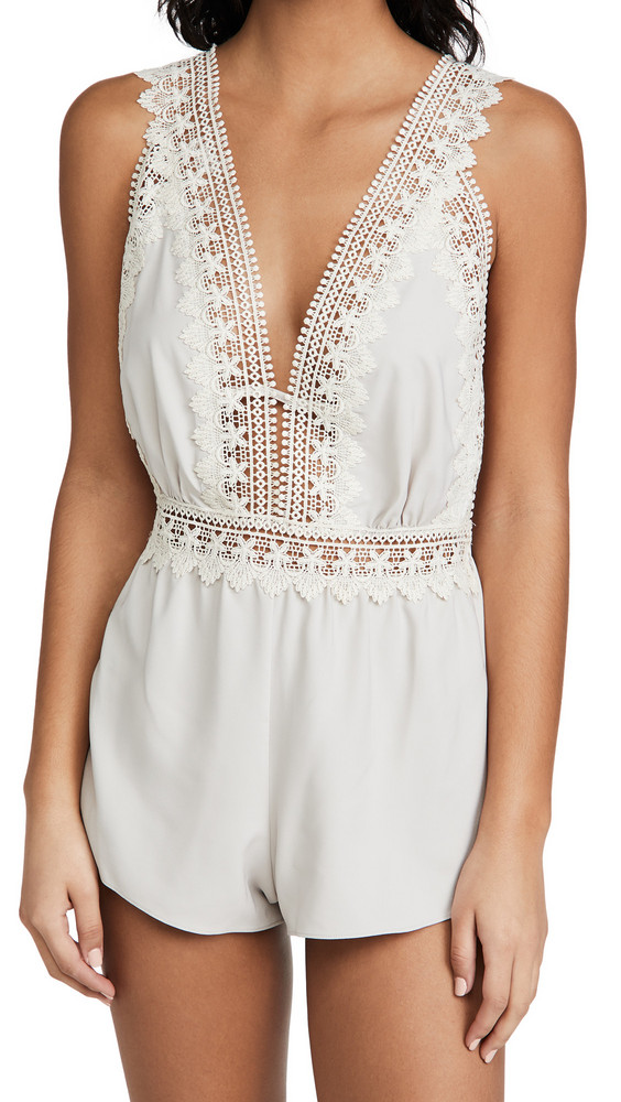Flora Nikrooz Blythe Matte Charmeuse Romper with Lace in gray