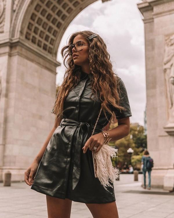 dress black dress leather dress short dress crossbody bag