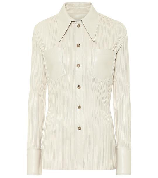 Nanushka Blaine pleated faux leather shirt in white