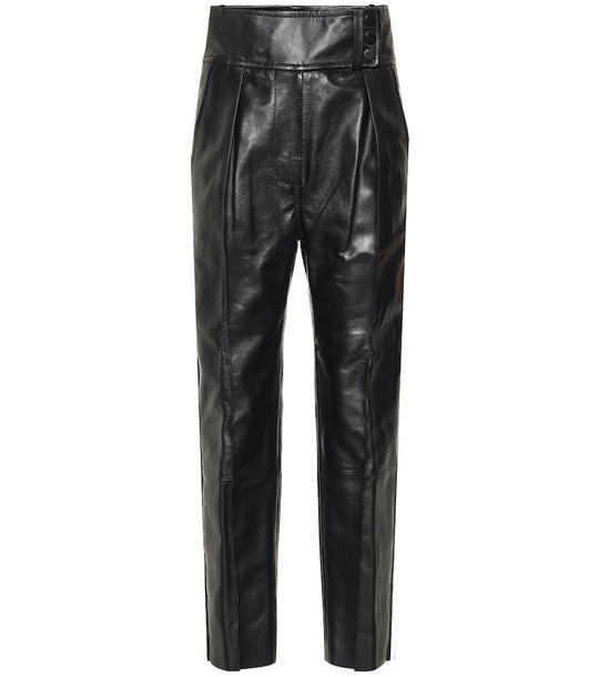 Petar Petrov Leather straight pants in black