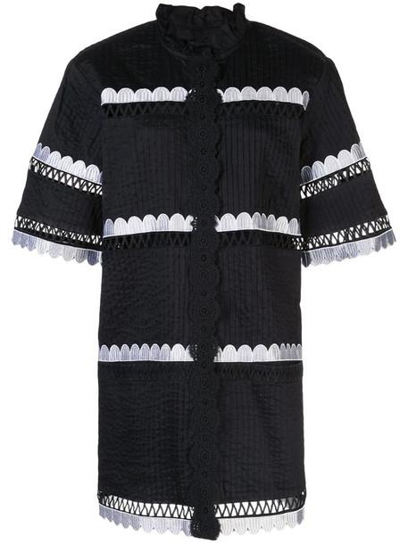 Cynthia Rowley Cabana scalloped shirt dress in black