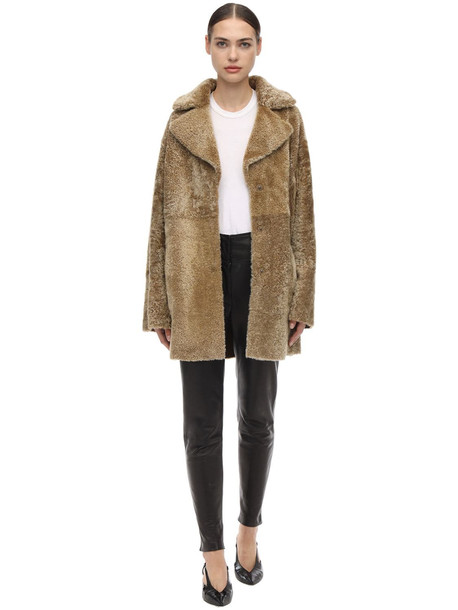 DROME Reversible Shearling Coat in brown