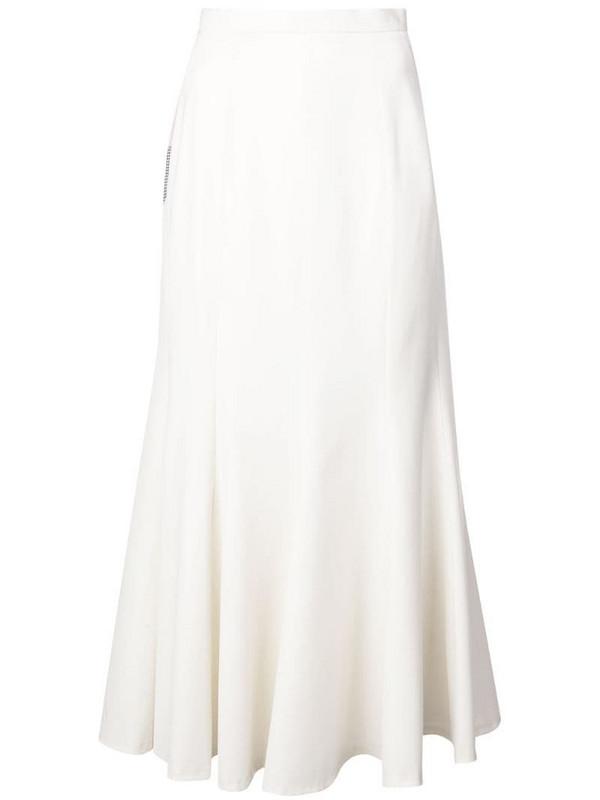 Natasha Zinko colourblock ruffled midi skirt in white