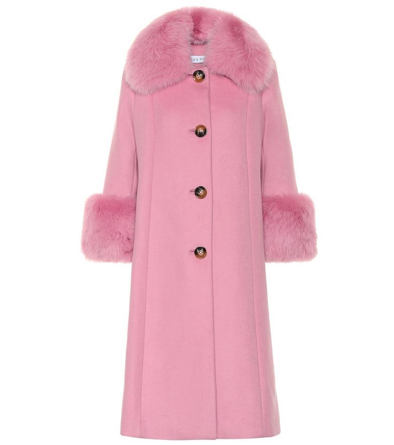 Saks Potts Yvonne fur-trimmed wool coat in pink