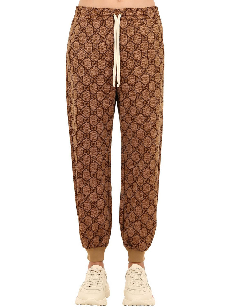 GUCCI Gg Supreme Slim Fit Cotton Jersey Pants in camel
