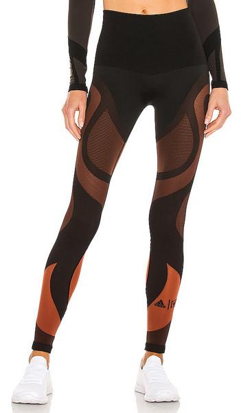 Wolford x Adidas Sheer Motion Legging in Black,Burnt Orange in red