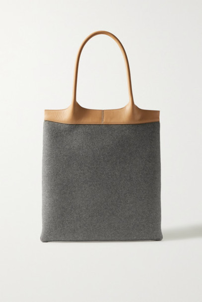 Gabriela Hearst - Leather-trimmed Cashmere Tote - Gray