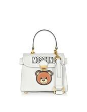 satchel,bear,bag,satchel bag,leather,white