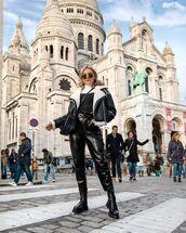 pants,leather pants,river island,shearling jacket,white turtleneck top,black boots,black bag