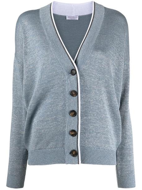 Brunello Cucinelli monili trim long-sleeved cardigan in blue