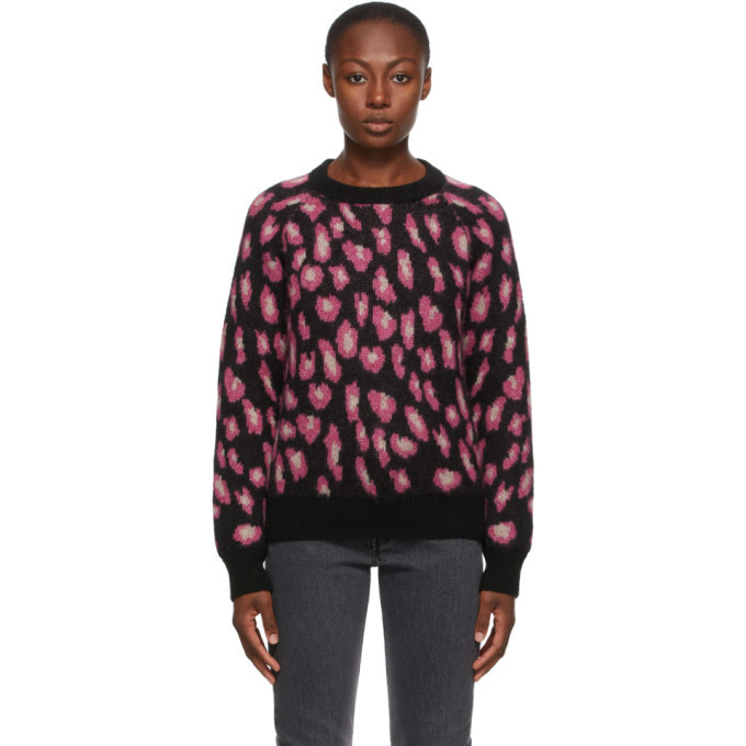 A.P.C. A.P.C. Black and Pink Leopard Esther Sweater in rose