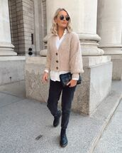 sweater,knitted sweater,cardigan,h&m,black boots,black jeans,white shirt,black bag