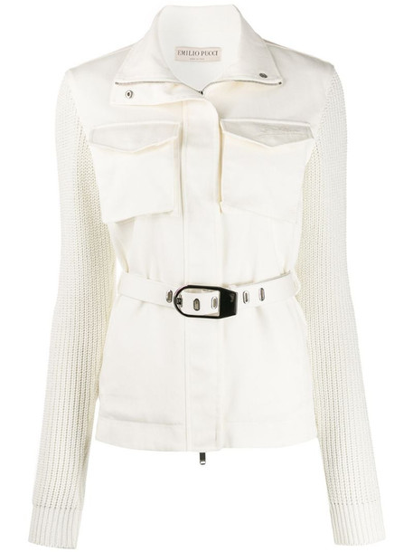 Emilio Pucci knitted sleeves belt jacket in white