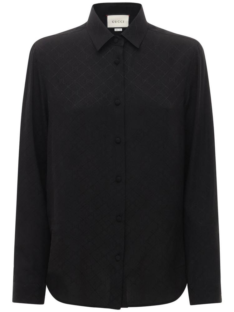 GUCCI Gg Print Silk Crepe Shirt in black