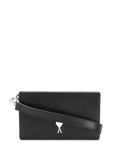 AMI Paris small leather box bag in black