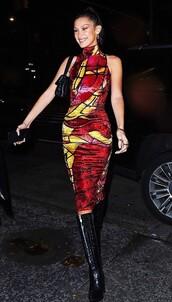 dress,midi dress,model off-duty,bella hadid,celebrity,bodycon dress