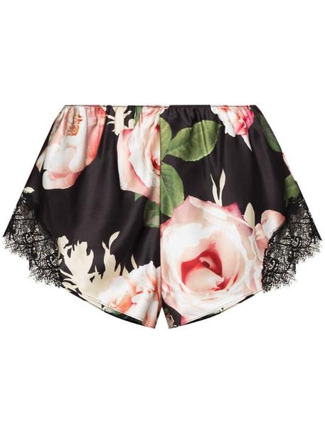 Sainted Sisters rose print silk shorts in black