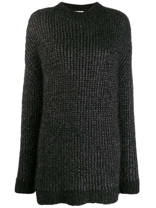 Saint Laurent metallic loose-knit jumper in black