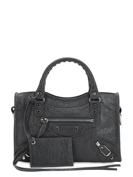 BALENCIAGA Mini City Leather Top Handle Bag in grey