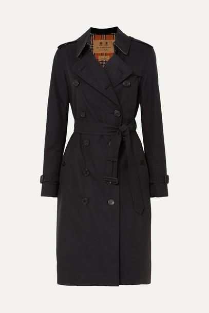 BURBERRY - The Kensington Long Cotton-gabardine Trench Coat - Blue