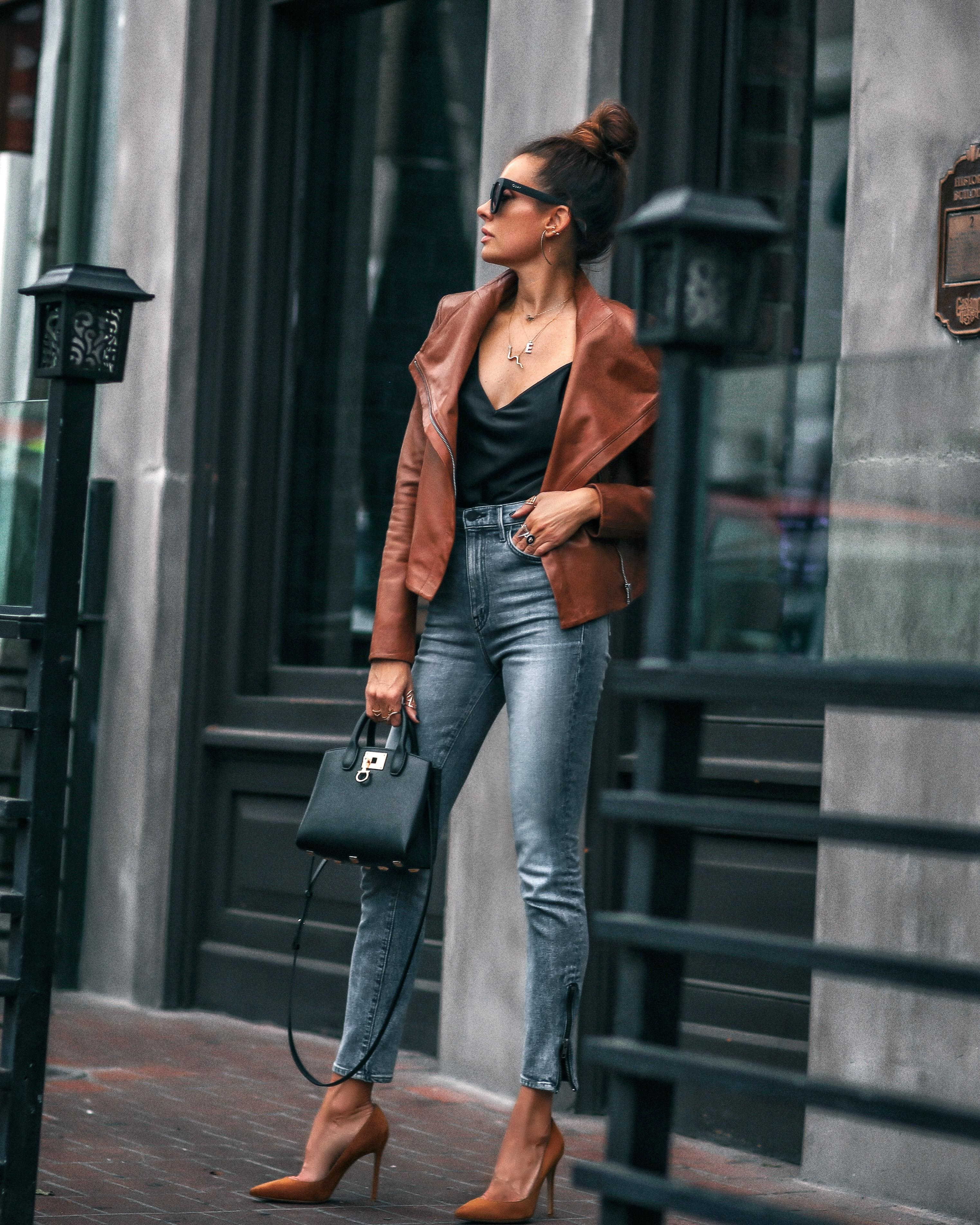 fashionedchic blogger jacket tank top jeans shoes sunglasses bag pumps leather jacket fall outfits
