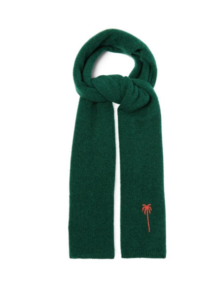 The Elder Statesman - Palm Tree-embroidered Cashmere Scarf - Womens - Green Multi