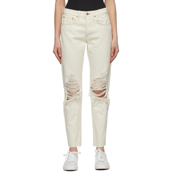 rag and bone Off-White Mid-rise Rosa Jeans in ecru